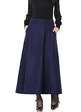 Medeshe Ladies Navy Blue Winter Warm Wool Skirt Long Maxi Skirt at Amazon Womenu2019s Clothing store