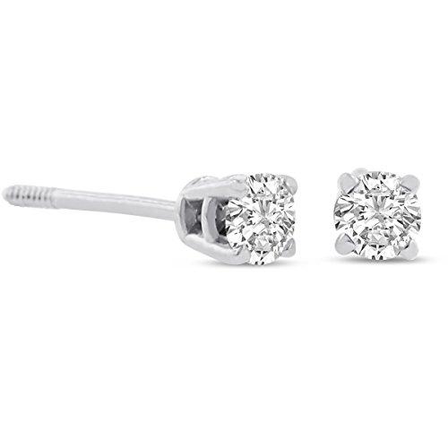 14 Karat White Gold Diamond Stud Earrings 1/4 Carat Tw.