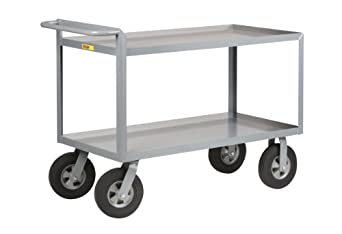 """Little Giant GL-3048-10SR Lip Shelves Cushion-Load Merchandise Collector with 10"""" Puncture-Proof Solid Rubber Wheels, 1500 lbs Capacity, 48"""" Length x 30"""" Width x 34-1/4"""" Height, Gray"""