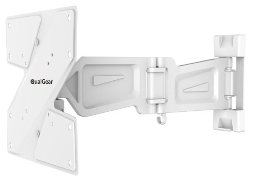 QualGear QG-TM-005-WHT 23-Inch to 42-Inch Premium Quality Contemporary Style Ultra Low Profile Full Motion Wall Mount LED TVs, White [UL Listed] (White Tv Bracket compare prices)