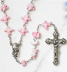 New Unique Girls Baby Pink Noah's Ark Animal Beads Baby's First Rosary