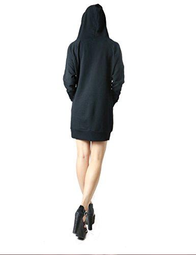 Women's Soft and Comfortable Long Fashion Hoddie (MEDIUM, BLACK-OT1423)