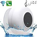 AE (TM) Portable Bluetooth Speaker With Suction Subwoofer Shower Waterproof Wireless Handsfree - WHITE