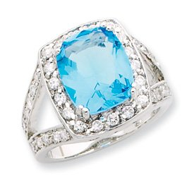 Genuine IceCarats Designer Jewelry Gift Sterling Silver Blue Glass & Clear Cz Ring Size 6.00