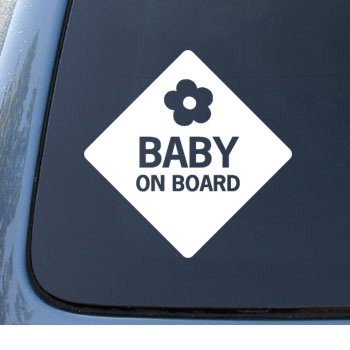 BABY ON BOARD - Child Warning - Car, Truck, Notebook, Vinyl Decal Sticker #1100 | Vinyl Color: White
