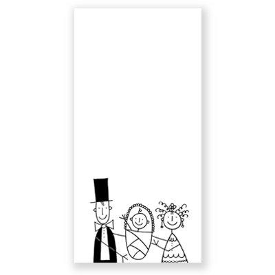 Taufhochzeitskarte mit Illustration, Franz Basdera: Brautpaar mit Baby, Klappkarte inkl. Umschlag naturweiß mit Seidenfutter (Gohrsmühle)