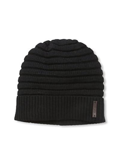 Cole Haan Men's Horizontal Rib Cuff Hat, Black, One Size