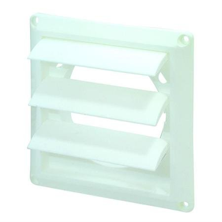 """4"""" Louvered Replacement Vent Hood - White With White Earbud Headphones"""