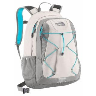 grey and teal north face backpack