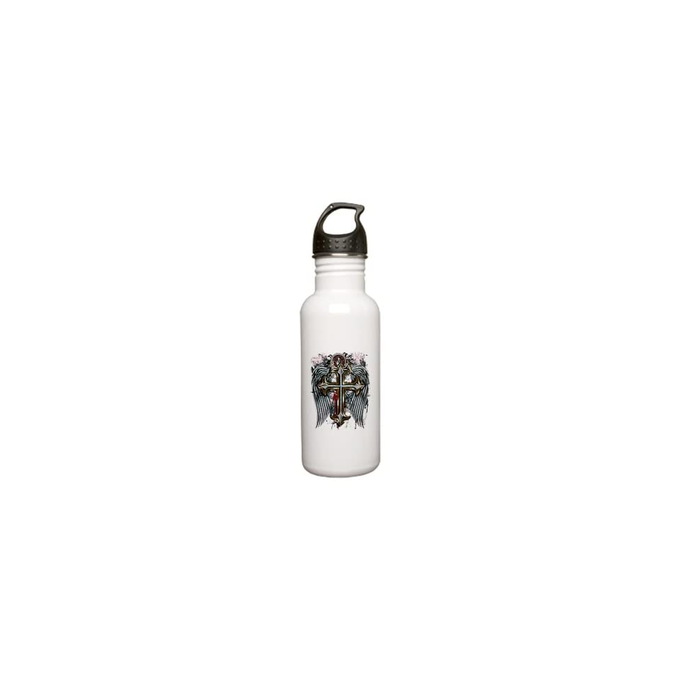 Stainless Water Bottle 0.6L Cross Angel Wings