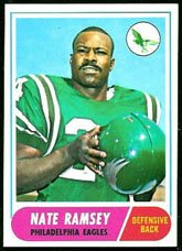 1968 Topps Regular (Football) Card# 136 Nate Ramsey of the Philadelphia Eagles VG Condition