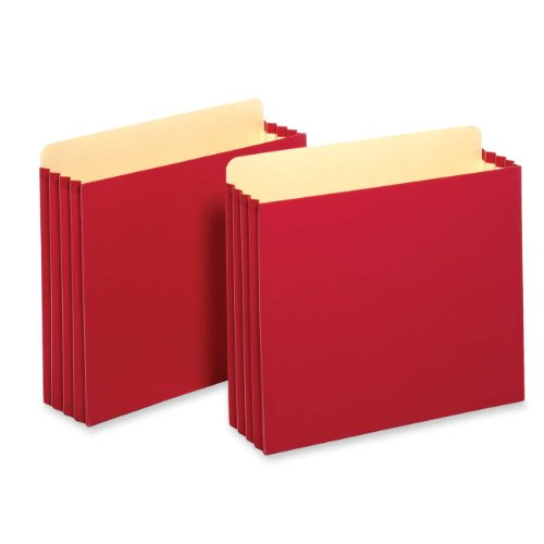 Tops Business Forms, Inc. Heavy Duty File Cabinet Pockets, 3.5-Inch Expansion, Letter Size, Red, 10-Count (FC1524E RED)