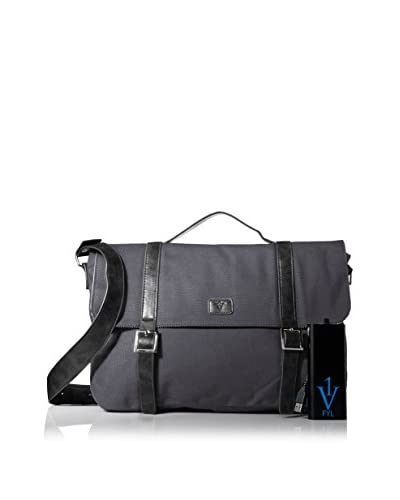 1 Voice Men's Dustin Messenger FYL Bag with Built-In Battery Charger, Dark Grey