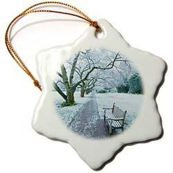 University of Washington in snow, Seattle - US48 MCU0028 - Mel Curtis - 3 Inch Snowflake Porcelain Ornament