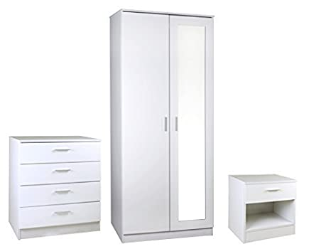 High Gloss White 3 Piece Set Mirrored - Ottawa Caspian SUPREME range
