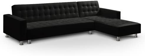 Menzzo SFAC8 Contemporain Vogue Canapé d'Angle Convertible Bois Noir 281 x 155 x 76 cm