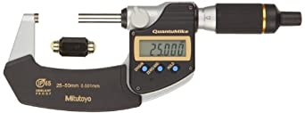 Mitutoyo QuantuMike Coolant Proof LCD Micrometer, IP65, Ratchet Thimble, Metric