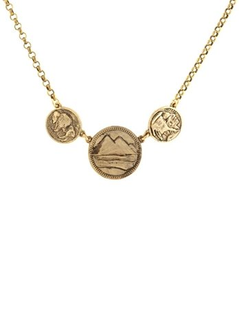 Low Luv by Erin Wasson Three Coin Necklace, Gold, One Size