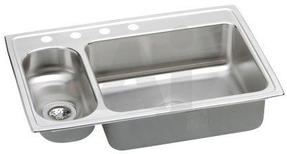 Elkay LMR33220 0-Hole Gourmet Lustertone Stainless Steel 33-Inch x 22-Inch Double Basin Top-Mount Kitchen Sink