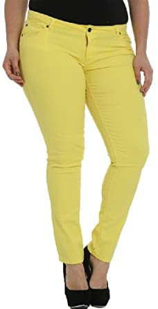 Hey Collection Women's Plus-Size Brushed Stretch Twill Skinny Jeans
