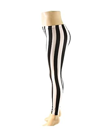 Black and White Striped Pattern Stretch Leggings (Large)