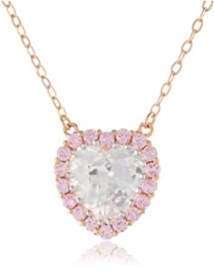 """CZ by Kenneth Jay Lane """"Basic Collection"""" 7 cttw Flush Heart with Pink Halo Pendant Necklace"""