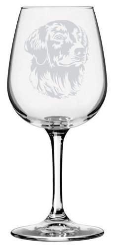 Golden Retriever Dog Themed Etched All Purpose 12.75oz Libbey Wine Glass