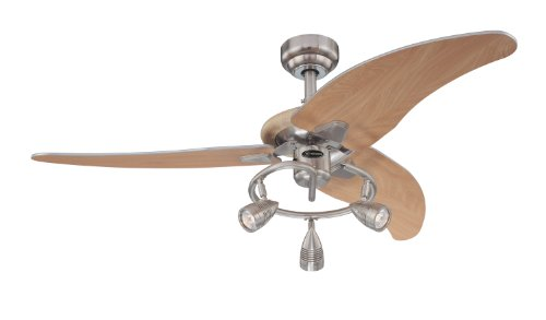 Westinghouse Lighting 7850500 Elite Three-Light 48-Inch Three-Blade Indoor Ceiling Fan, Brushed Nickel with Three Brushed Nickel Spotlights