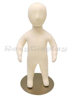 (JF-CH06M) Child Body Form 6 month white jersey form cover,with head, flexible arms, fingers & legs, metal base