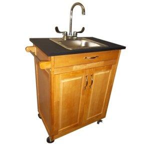 Amazon Com Single Basin Portable Sink Wood Cabinet