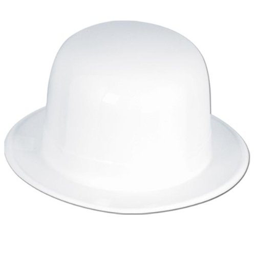 White Plastic Derby Party Accessory (1 count) - 1