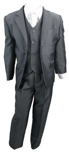 Kids Boys 3 Piece Suit Shiny Charcoal Grey Waistcoat Blazer & Trouser