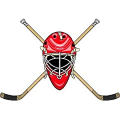 6 Printed color goalie helmet and crossed sticks front red Hockey Skate Ski Winter... by Beach Graphic Pros