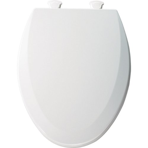 Bemis 1500EC000 Molded Wood Elongated Toilet Seat With Easy Clean and Change Hinge, White
