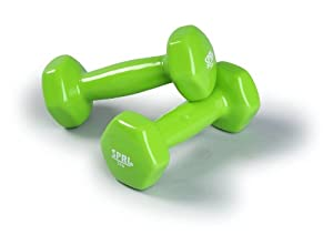 SPRI Deluxe Vinyl Dumbbells (Green, 3-Pound, set of 2)