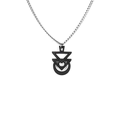 """Rogue e il lupo """", con sigillo di Euphoria, colore: nero con stampa 3D Gothic jewellery"""