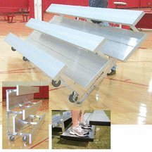 2 Row 28 Seat Tip N Roll Bleachers With Double Foot Planks Colored by SSG / BSN