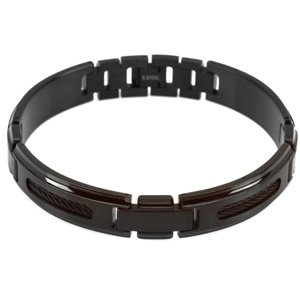Black Ion Plated Stainless Steel Bracelet with Black Ion Plated Cable