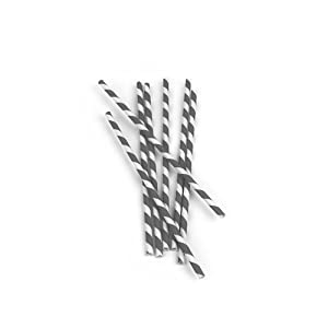 Kikkerland Biodegradable Paper Straws, Gray and White Striped, Box of 144