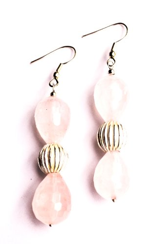 Tangerine Fashion Semiprecious Rose Quartz Earrings (orange)