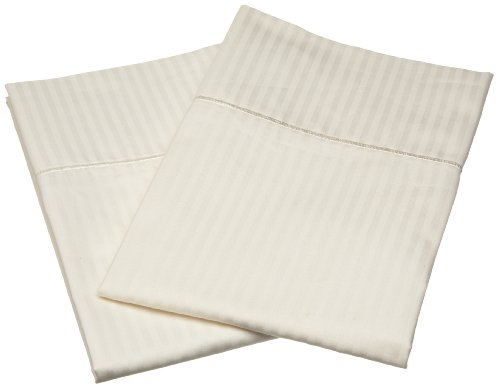 Renaissance Collection 600 Thread-Count Woven Stripe King Pillow Case Set, Ivory