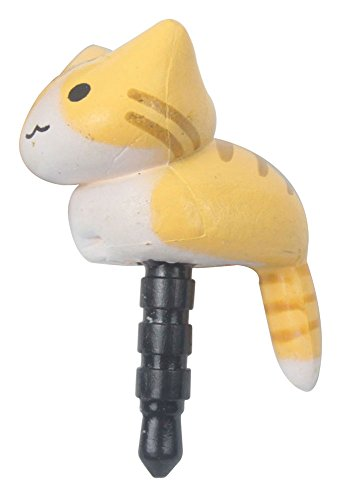 niceeshop(TM) 2 Pcs Yellow Cheese Tabby Cat Universal 3.5mm Anti Dust Earphone Jack Plug Cap for IPhone iPad HTC Samsung (Cat Phone Jack compare prices)