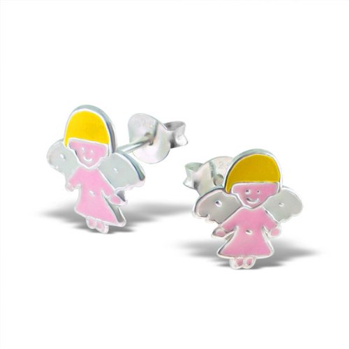 Sterling Silver Children's Pink Guardian Angel Earrings
