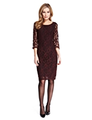 M&S Collection Brushed All-Over Floral Lace Shift Dress