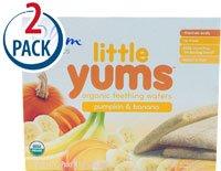 Plum Organics Little Yums Organic Teething Wafers Pumpkin & Banana -- 18 Wafers Each / Pack of 2