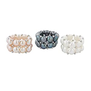 White, Black and Pink Freshwater Cultured Pearl Two-Row Stretch Ring with Sterling Silver Beads, Set of 3