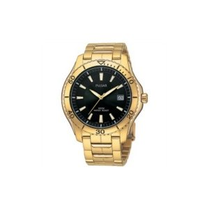 Top Quality Pulsar PXH364 Men's Gold Black Dial Watch By Pulsar