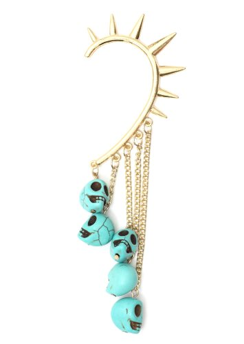 Voodoo Skulls Spiked Ear Cuff Gold Tone Metal Wrap Fringe Turquoise Blue Skeleton Chandelier Earring Fashion Jewelry