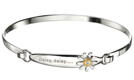 D For Diamond Girls Sterling Silver Daisy Bangle - Zoe Kay Jewellery