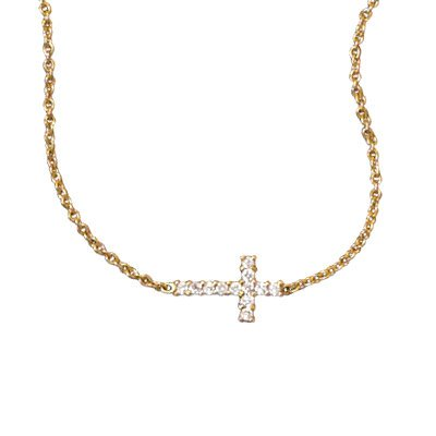 Side Set Cross Necklace with Cubic Zirconia CZ 14K Yellow Gold on Sterling Silver